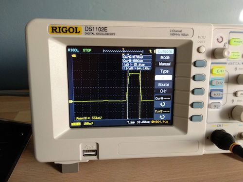 Inspecting length of the shortest pulse using a oscilloscope